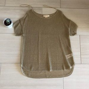 Michael Kors Gold Sheer Mesh Shirt